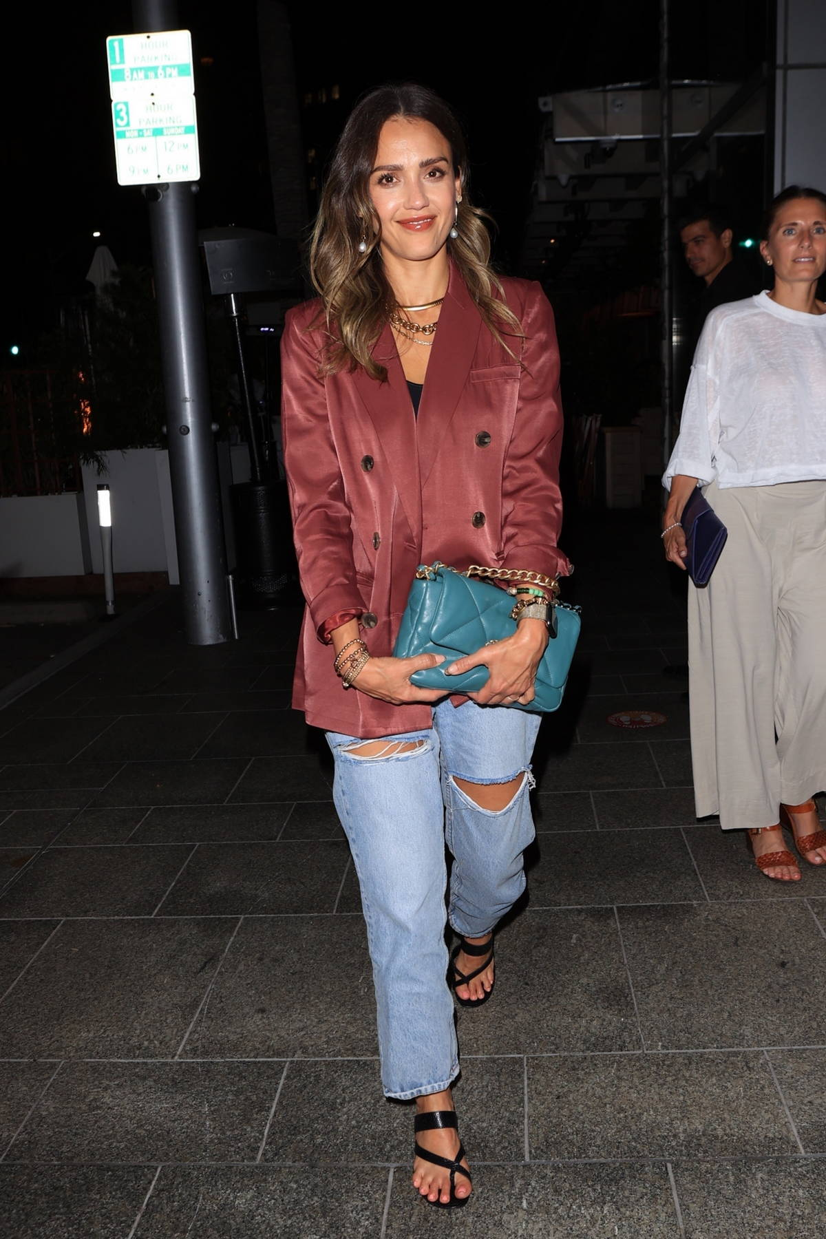 Jessica Alba is all smiles while out on a date night with husband Cash Warren at Avra in Beverly Hills, California