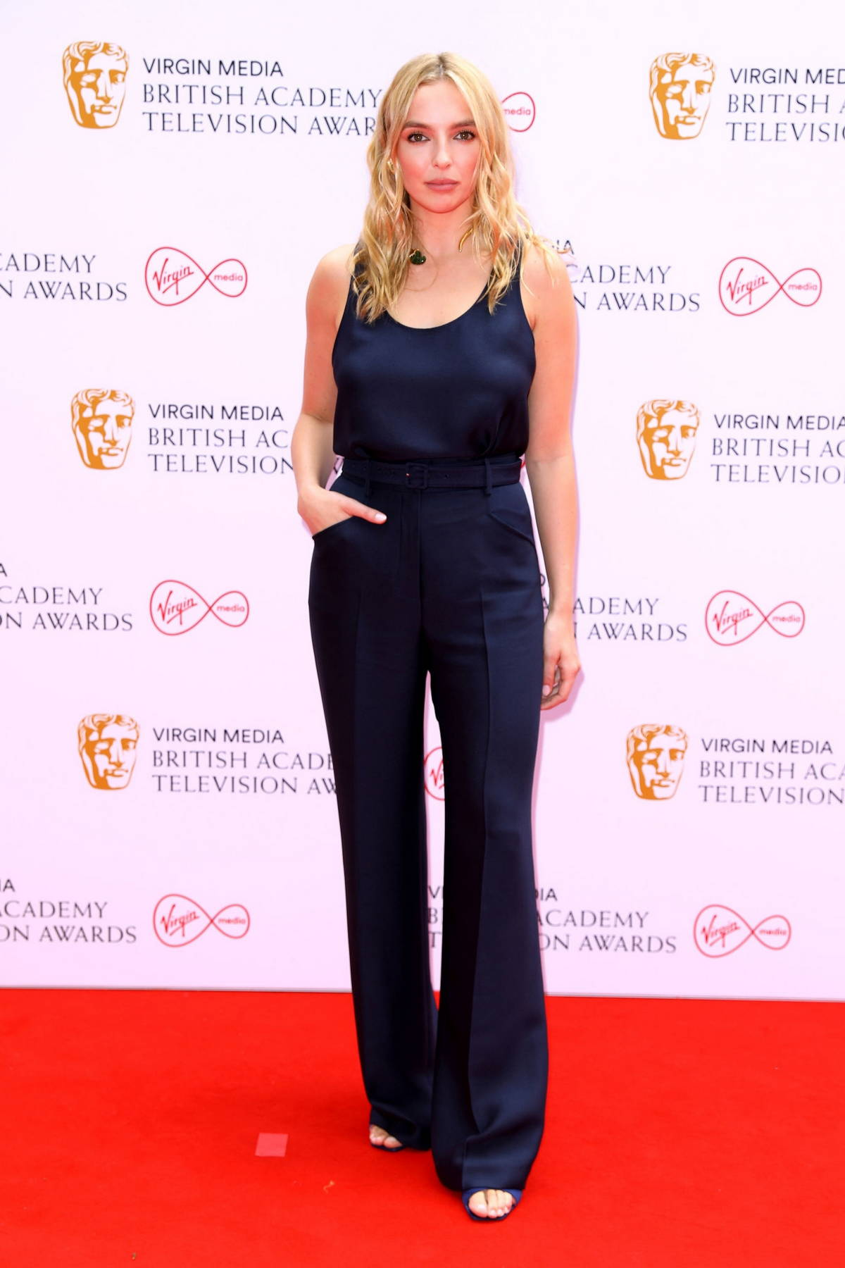 Jodie Comer attends the Virgin Media British Academy Television Awards 2021 at Television Centre in London, UK