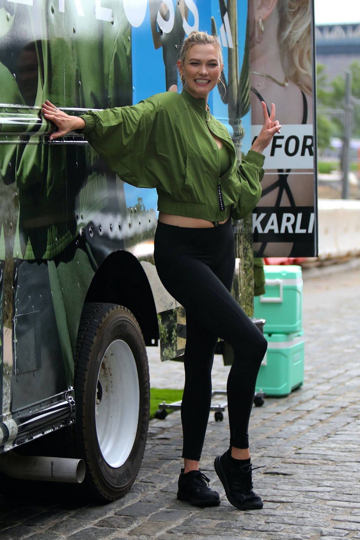 Karlie Kloss poses during a photoshoot for 'Karlie Kloss x Adidas' in New York City