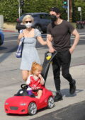 Kate Mara and Jamie Bell enjoy family stroll in Los Angeles