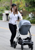 Katherine Schwarzenegger steps out for her morning walk with baby Lyla Maria in her stroller in Santa Monica, California