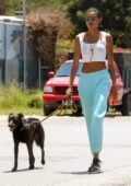 Kelly Gale stays comfy in tank top and sweatpants while out walking her dog in Malibu, California