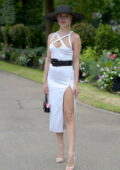 Kimberley Garner looks radiant in a white dress while attending Royal Ascot 2021 at Ascot Racecourse in Ascot, UK