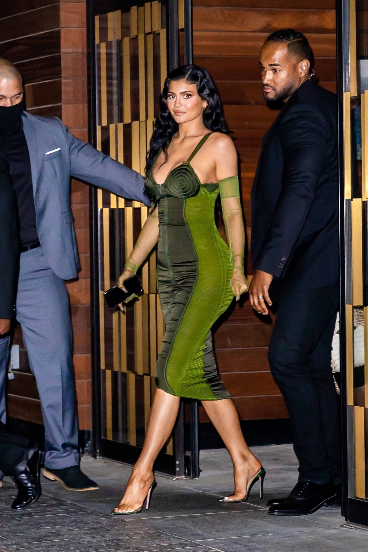 Kylie Jenner stuns in a green bodycon dress as she heads to the 72nd annual Parsons Benefit in New York City