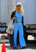 Lily James spotted in a blue velour tracksuit and blonde wig while on the set of 'Pam and Tommy' in Malibu, California