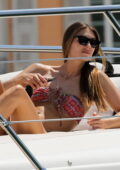 Lorena Rae soaks up the sun in a printed bikini while relaxing on a yacht in Saint-Tropez, France