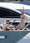 Lorena Rae spotted in a blue bikini while enjoying the sun on a luxury yacht with her boyfriend in Saint-Tropez, France