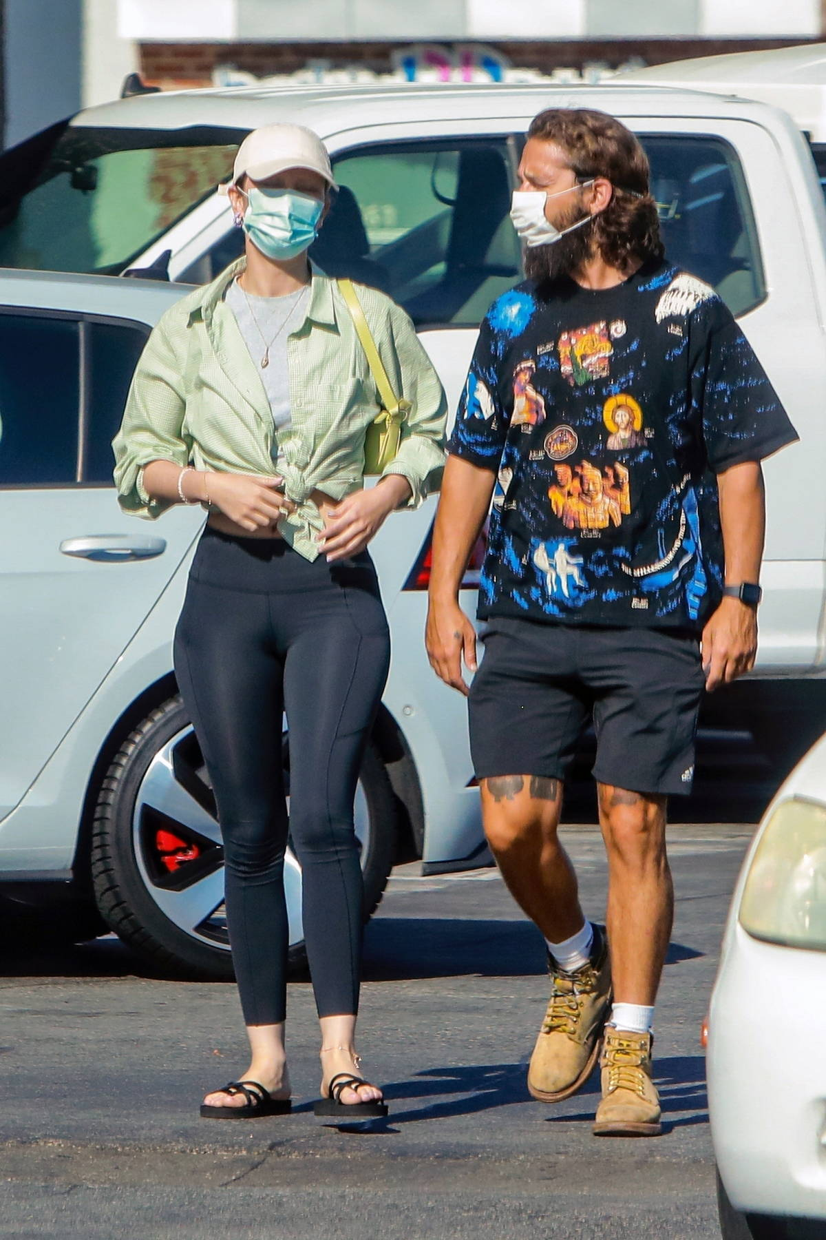 Mia Goth and Shia LaBeouf step out for some shopping at Pavilions and a camping store in Pasadena, California