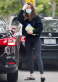 Mia Goth wears a black teddy jacket and leggings as she arrives at Shia LaBeouf's house in Pasadena, California