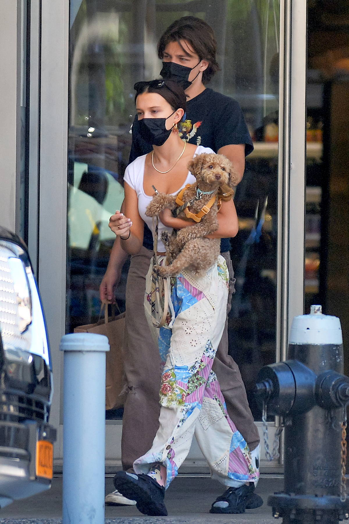 Millie Bobby Brown carries her cute puppy as she steps out with boyfriend Jake Bongiovi in New York City