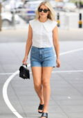 Mollie King looks great in a stylish white top and daisy duke shorts at BBC Radio 1 studio in London, UK