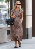 Nicky Hilton looks great in a leopard print dress while out for a stroll in Downtown Manhattan, New York City
