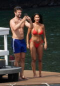 Nicole Scherzinger looks incredible in a red bikini during her vacation with Thom Evans in Italy