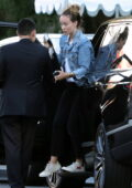Olivia Wilde rocks double denim as she grabs dinner with friends at the San Vicente Bungalows in West Hollywood, California