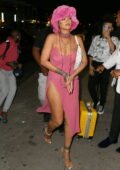 Rihanna flashes her legs in a side-slit pink dress during night out with A$AP Rocky at Barcade in New York City