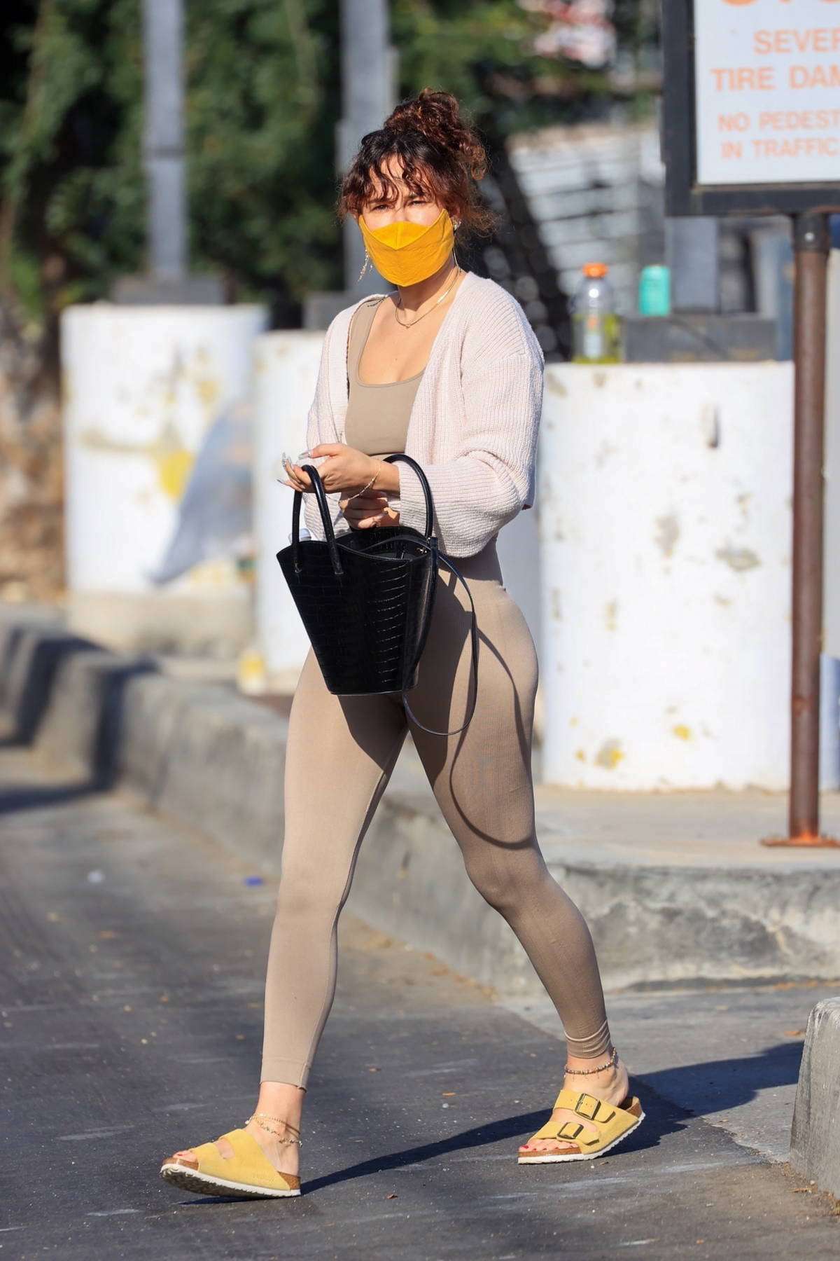 Rumer Willis heads to a Pilates class wearing beige workout top and matching leggings in Los Angeles