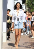 Shanina Shaik puts on a leggy display while attending a Coach Event in West Hollywood, California