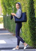 Shanina Shaik sports a grey hoodie and black leggings as she leaves a Pilates class in West Hollywood, California