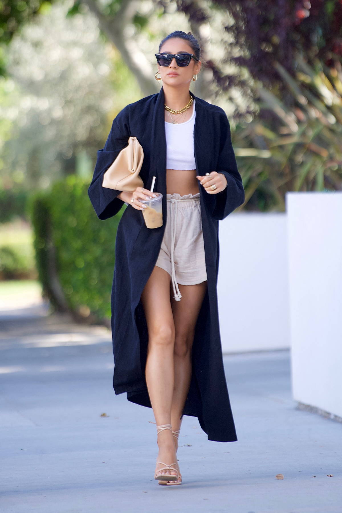Shay Mitchell looks casually chic as she grabs an iced coffee while running errands in Beverly Hills, California