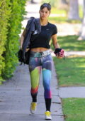 Sofia Boutella displays her abs as she dons a black tee and colorful leggings for her Pilates session in Los Angeles