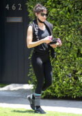 Sofia Boutella leaves her Pilates class wearing a black tank top and leggings in West Hollywood, California