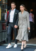 Sophia Bush and Grant Hughes hold hands as they leave their hotel while heading to the Tribeca Festival in New York City