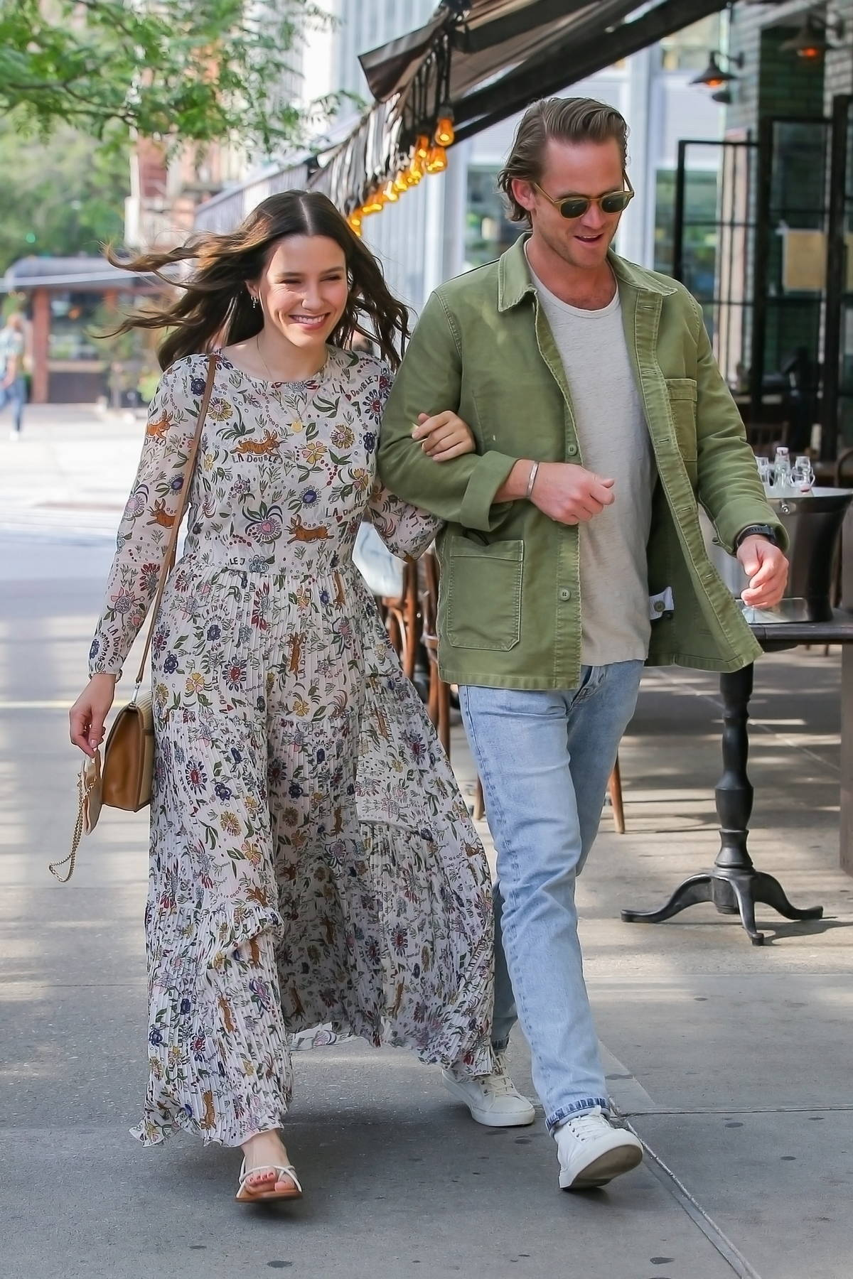 Sophia Bush looks lovely in a flowing summer dress while out with beau Grant Hughes in New York City