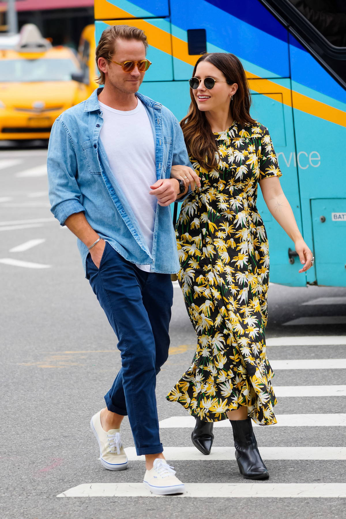 Sophia Bush wears a floral print summer dress while out for stroll with boyfriend Grant Hughes in New York City