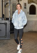 Alessandra Ambrosio sports a jacket and leggings as she leaves a gym in an upscale neighborhood in Sao Paulo, Brazil