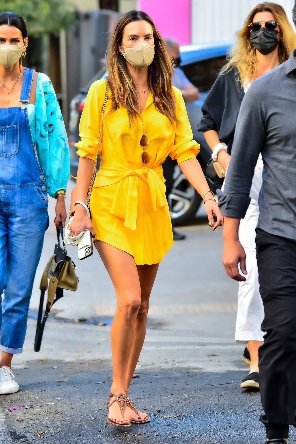Alessandra Ambrosio stuns in a yellow dress as she and boyfriend Richard Lee grab lunch with friends in Sao Paulo, Brazil