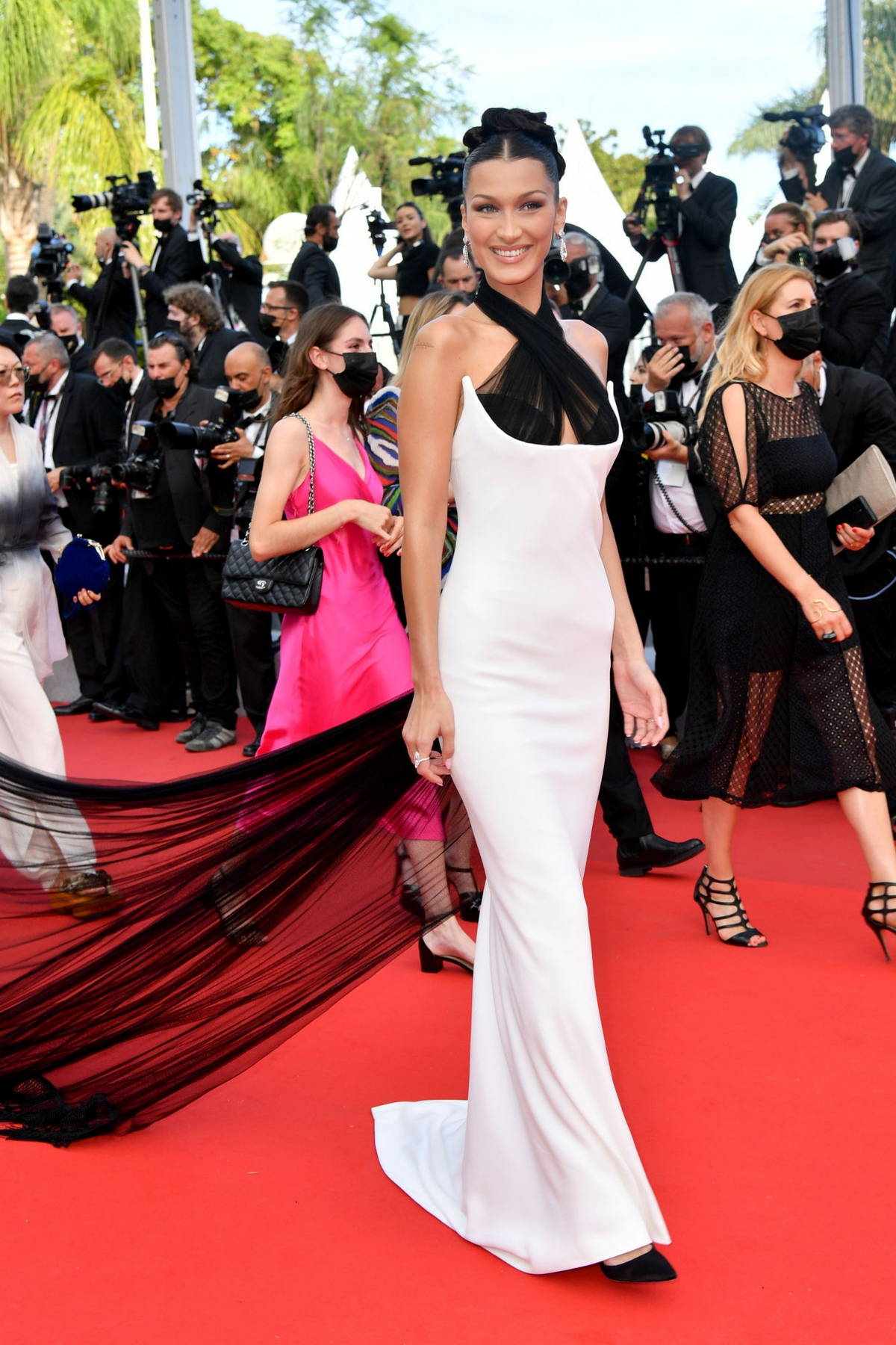Bella Hadid attends the 'Annette' screening and opening ceremony during the 74th annual Cannes Film Festival in Cannes, France