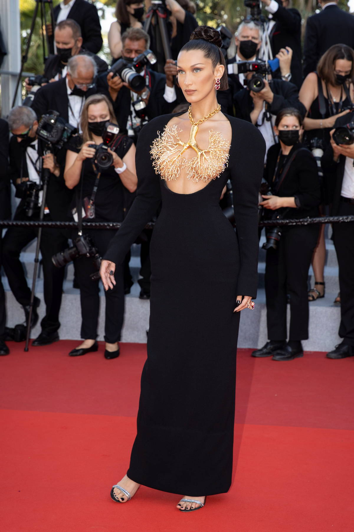 Bella Hadid attends the screening of 'Tre Piani' during the 74th annual Cannes Film Festival in Cannes, France