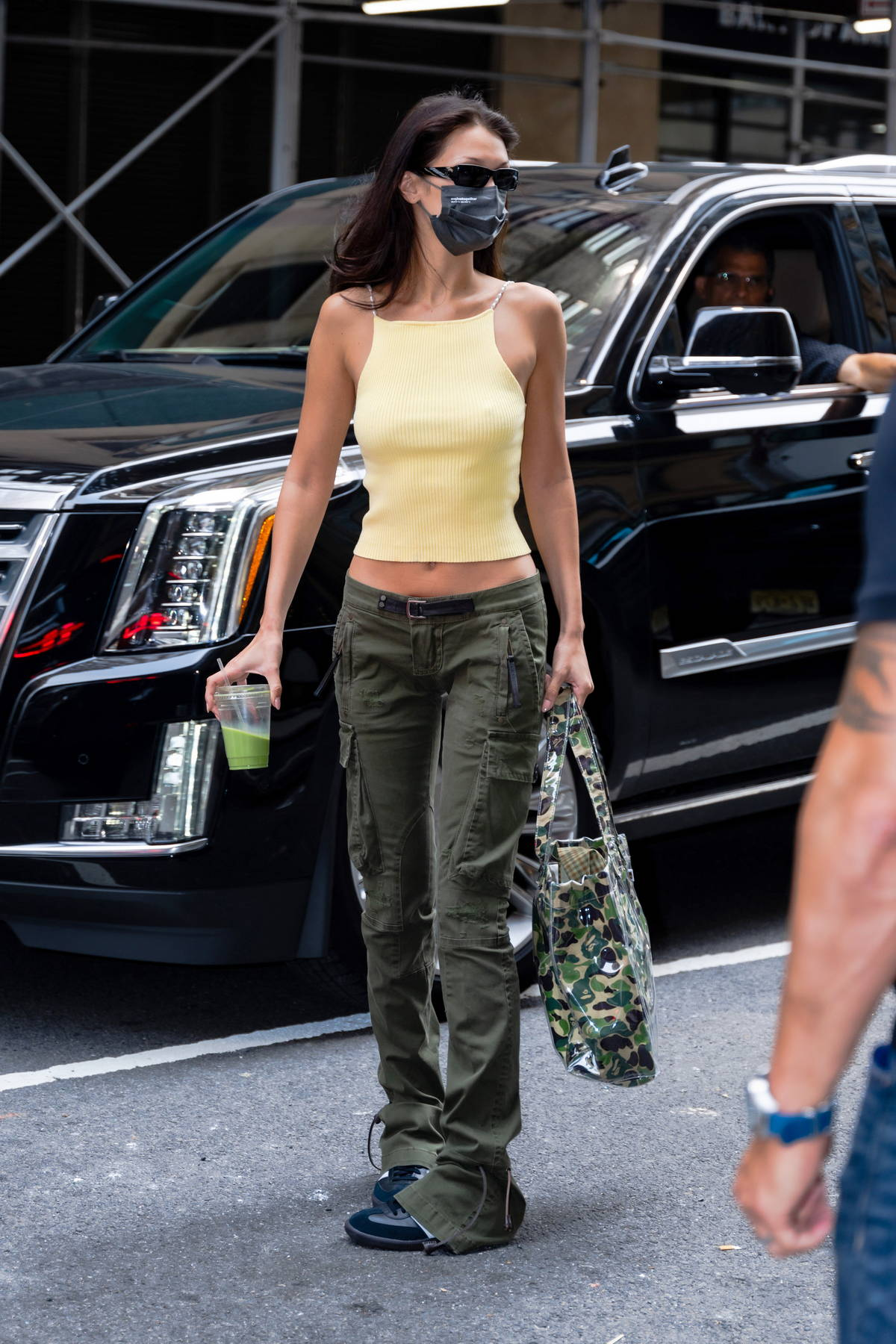 Bella Hadid looks stylish as she heads to a photoshoot for Michael Kors at The Skylark event space in New York City