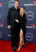 Camille Kostek and Rob Gronkowski attend the 2021 ESPY Awards at Rooftop At Pier 17 in New York City