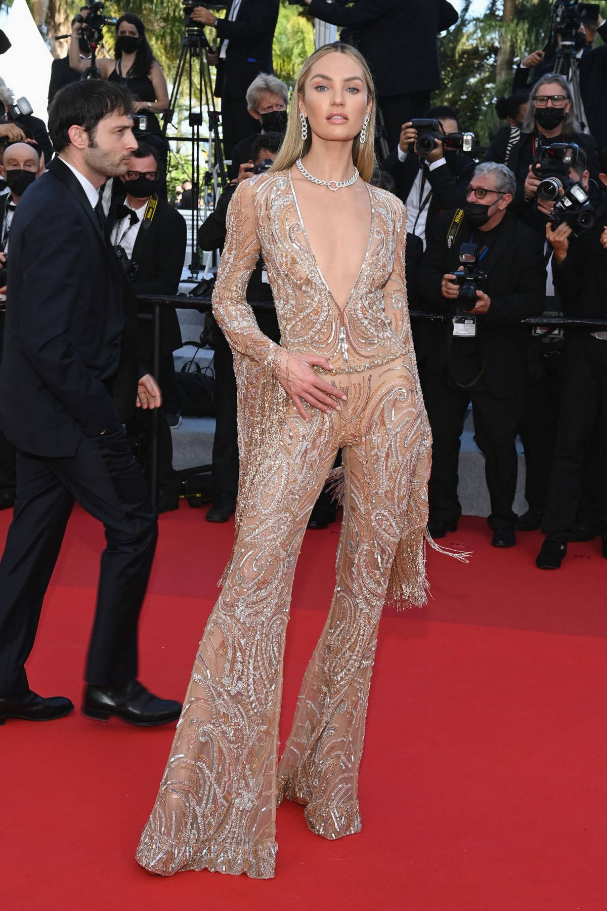 Candice Swanepoel attends the 'Annette' screening and opening ceremony during the 74th annual Cannes Film Festival in Cannes, France