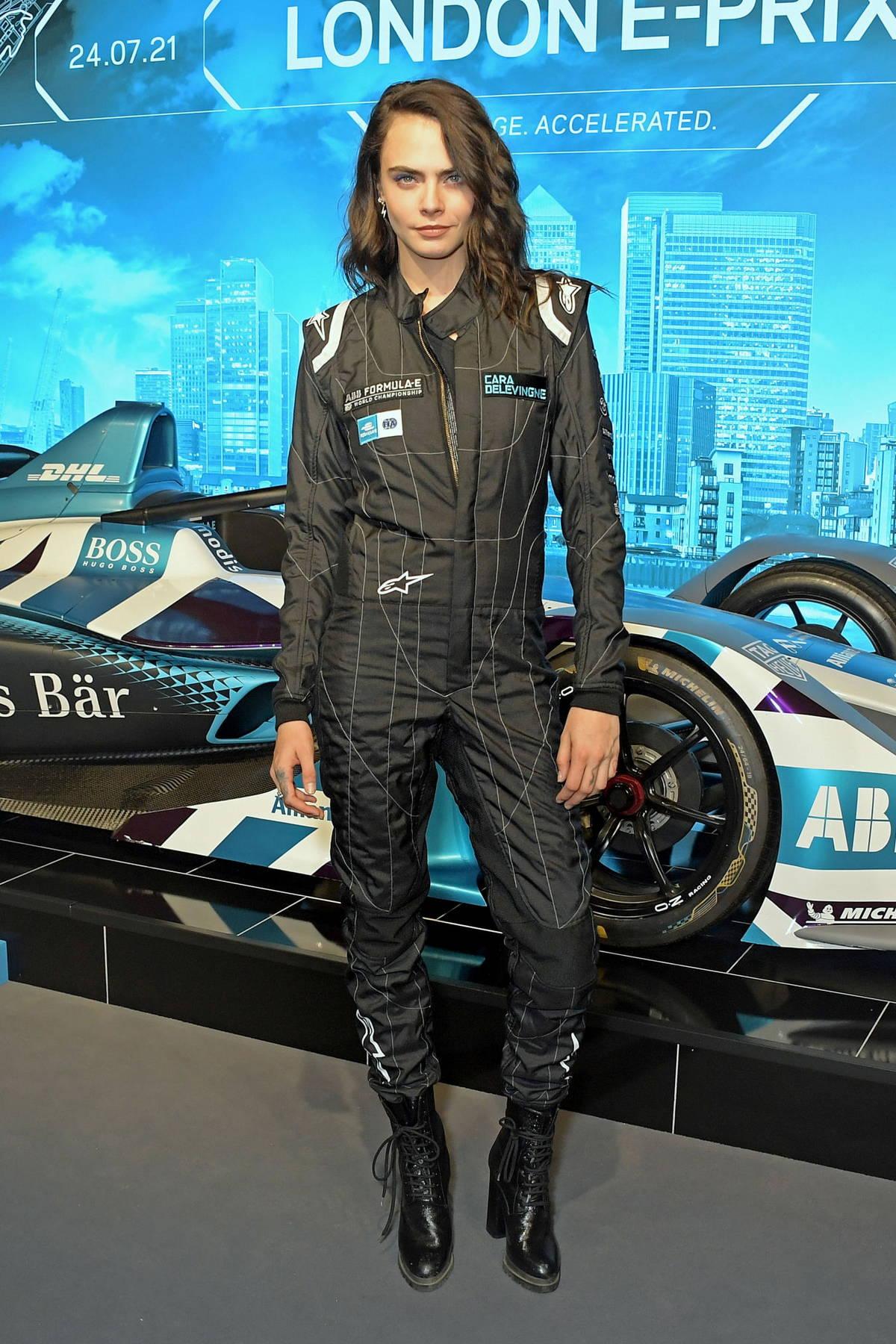 Cara Delevingne attends the ABB FIA Formula E Heineken London E-Prix at ExCel in London, UK