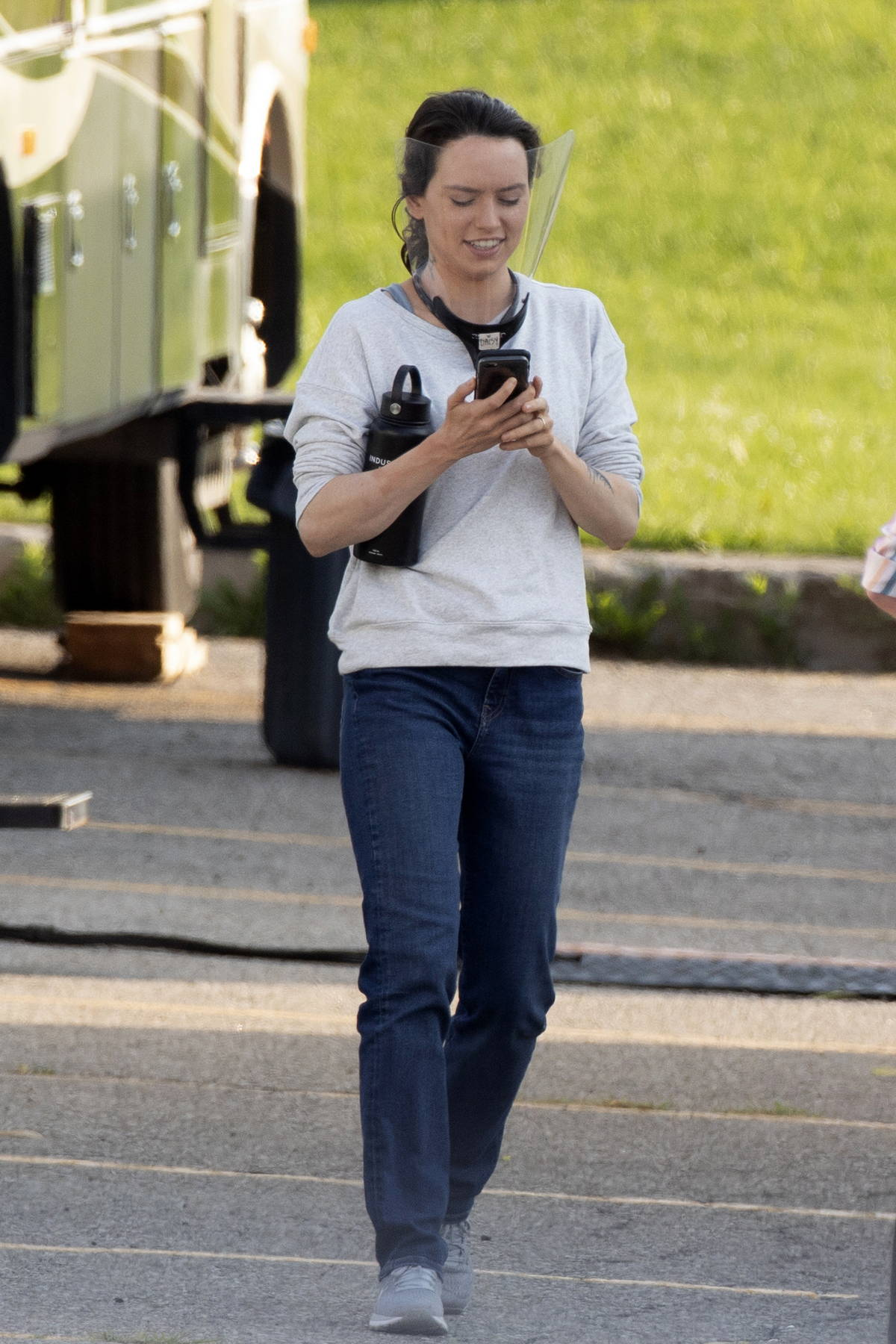 Daisy Ridley gets a COVID-19 test as she arrives on the set of 'The Marsh King's Daughter' in Toronto, Canada
