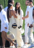 Eiza Gonzalez looks radiant in white while attending Revolve's 4th of July party with beau Paul Rabil at Nobu in Malibu, California
