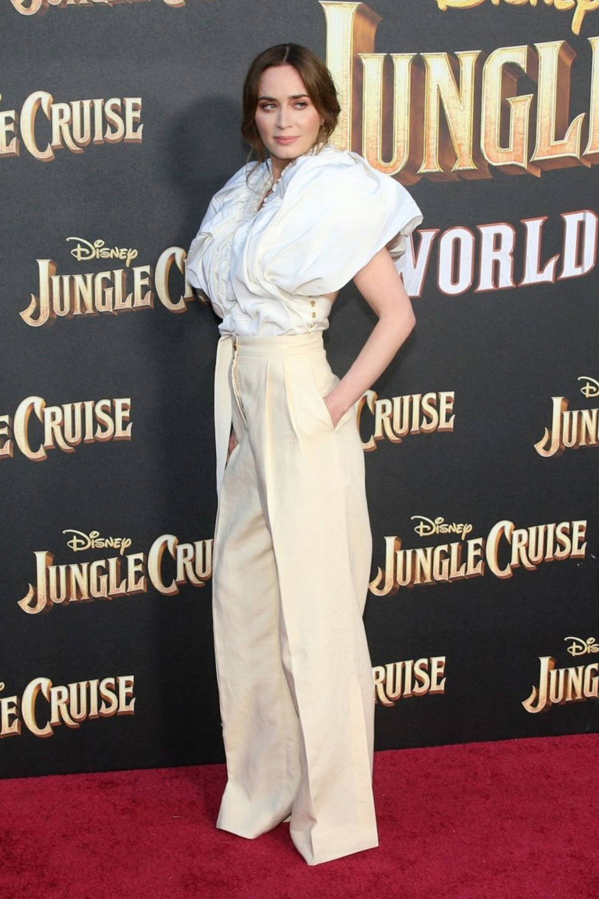 Emily Blunt attends the World Premiere Of Disney's 'Jungle Cruise' at Disneyland in Anaheim, California