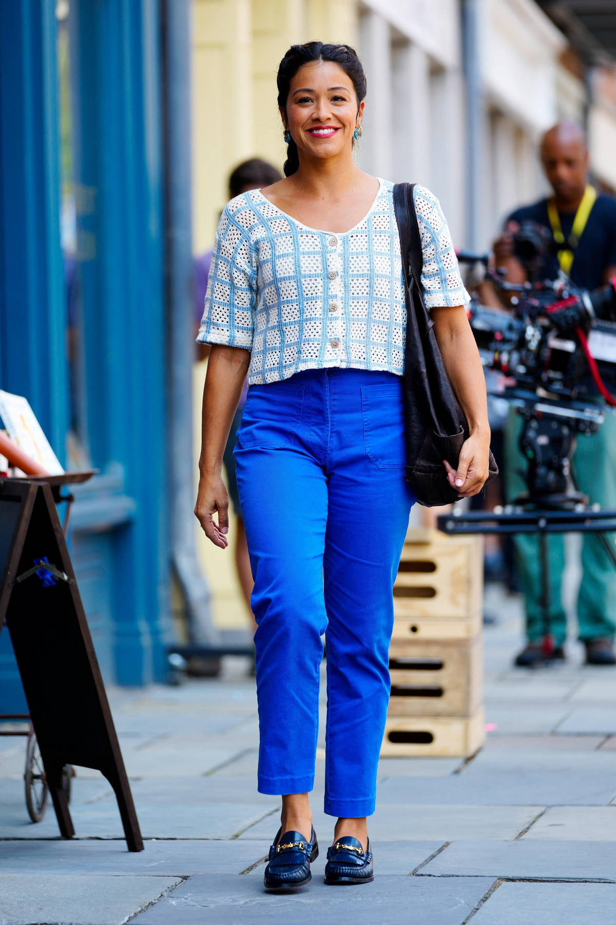 Gina Rodriguez is all smiles while spotted on the set of 'Players' in New York City