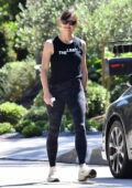 Jennifer Garner looks athletic in a tank top and camo leggings while out for a power walk with a friend in Brentwood, California