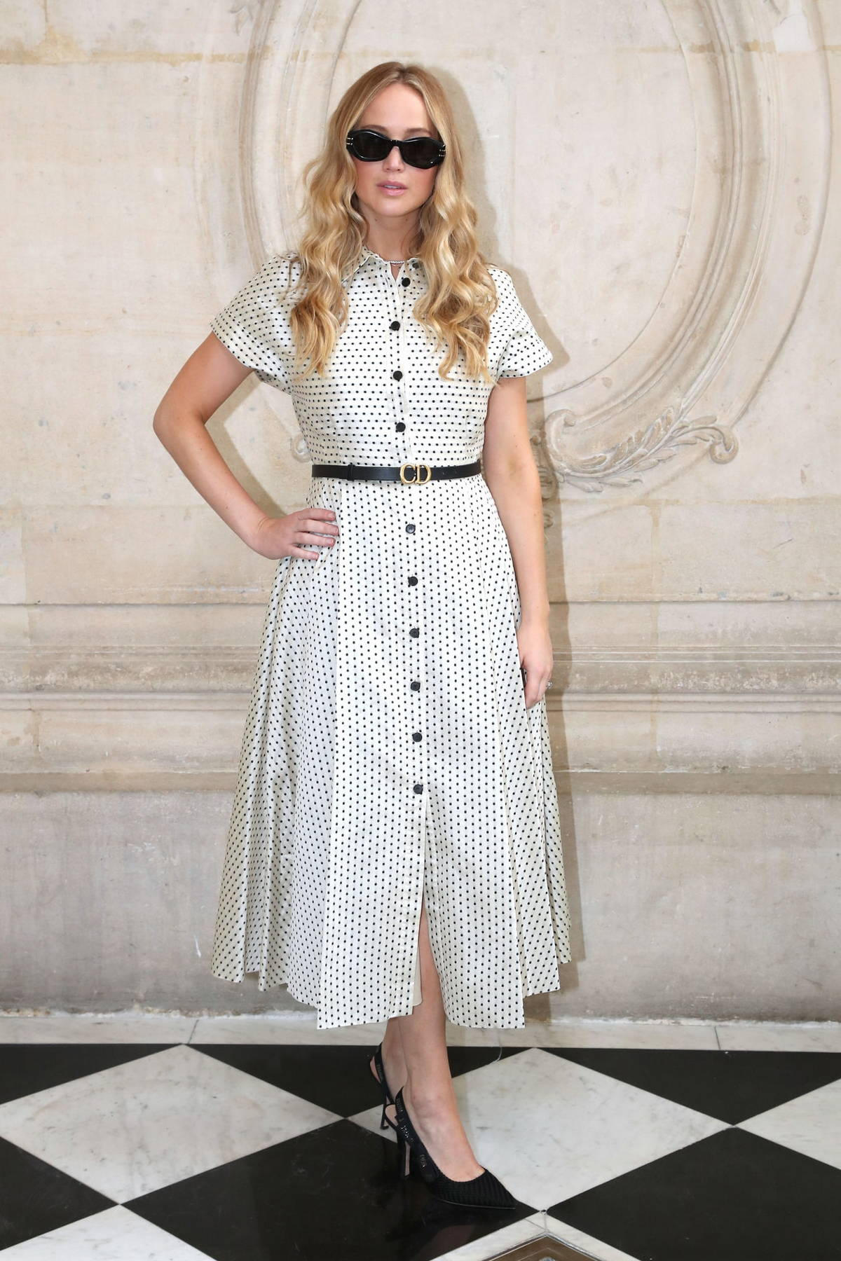 Jennifer Lawrence attends the Christian Dior Haute Couture Fall-Winter 2021-2022 show in Paris, France