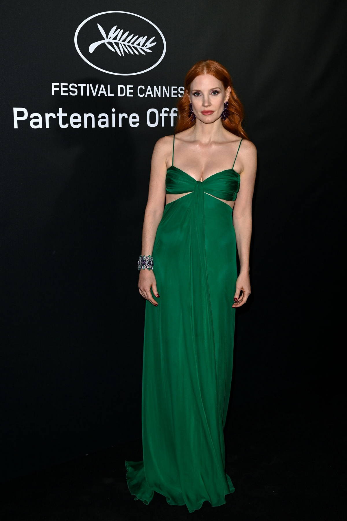 Jessica Chastain attends the Chopard Trophy dinner during the 74th annual Cannes Film Festival in Cannes, France