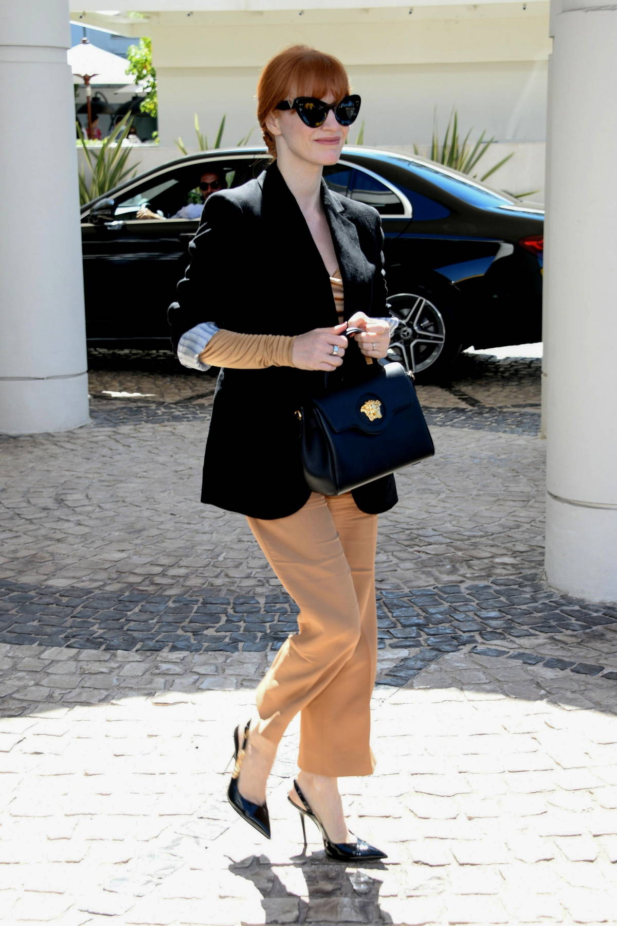 Jessica Chastain looks chic while stepping out on 4th day of the 74th annual Cannes Film Festival in Cannes, France