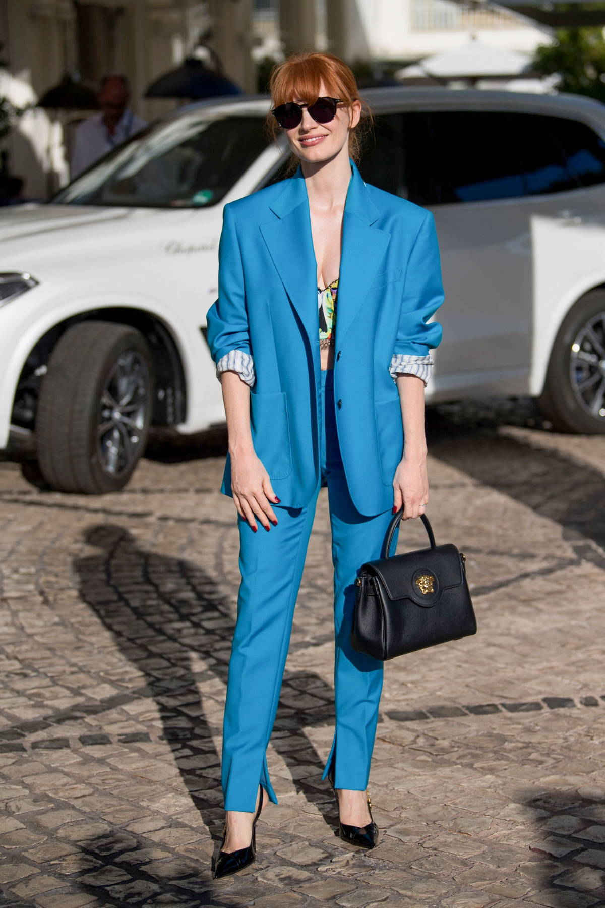 Jessica Chastain steps out looking chic in blue pantsuit during the 74th Cannes Film Festival in Cannes, France