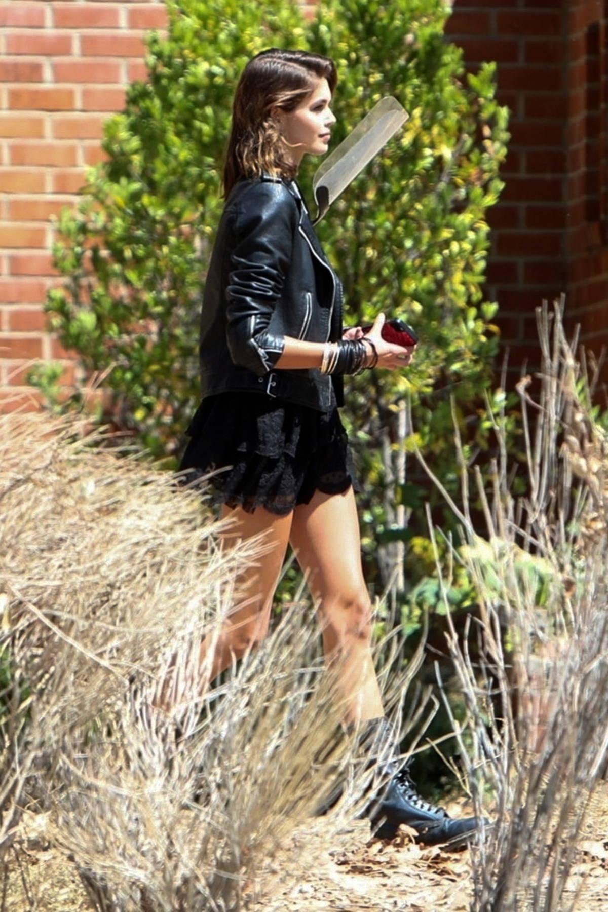 Kaia Gerber seen filming the season finale of 'American Horror Story' in Los Angeles