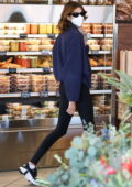 Kaia Gerber sports a teddy jacket and leggings while shopping at Erewhon Market in West Hollywood, California