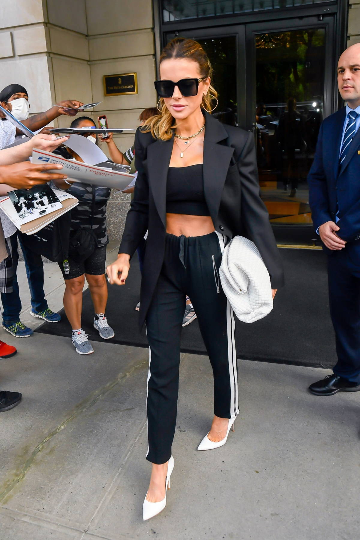 Kate Beckinsale seen leaving The Ritz-Carlton Hotel after press tour for her new Netflix project, 'After Life' in New York City