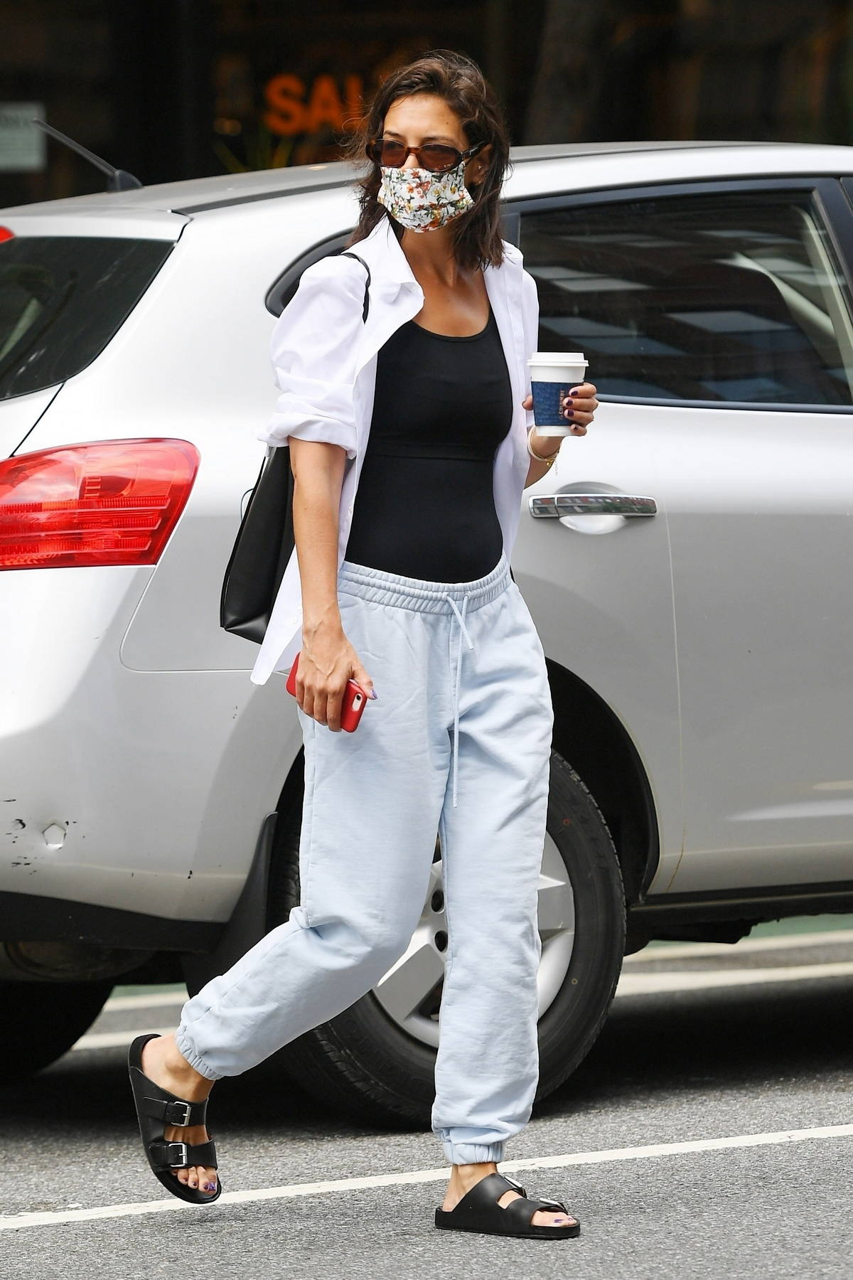 Katie Holmes keeps cozy in sweatpants while out to grab some coffee in SoHo, New York City
