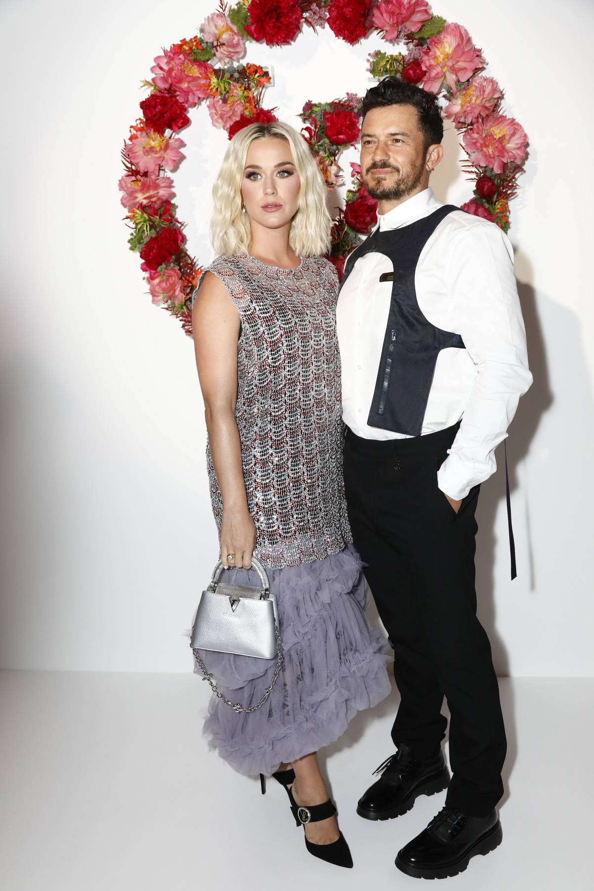 Katy Perry and Orlando Bloom attend the Louis Vuitton Fragrance Dinner at the Louis Vuitton Foundation in Paris, France